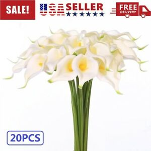 20PCS Calla Lily Bridal Wedding Bouquet Lataex Real Touch Artificial Flower USA