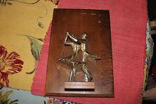 Vintage Ballroom Dancing Trophy-Wood Backing Metal Dancing Figure-Trophy Plaque
