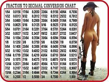 SEXY GIRL COWGIRL FRACTION TO DECIMAL CONV. TOOLBOX REFRIGERATOR FRIDGE MAGNET
