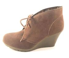 White Mountain Icon Chestnut Suede Leather Wedge Lace Up Ankle Booties Size 10