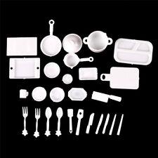 33pcs 1:12 Dollhouse Miniature Dish DIY Tableware Mini Kitchen Food Plates ZQ