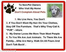 Funny Dog Irish Wolfhound House Rules Refrigerator / Magnet Gift Card Idea