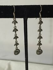 "Sterling Silver Spiral & Tulip Design Texture & Marcasite Earrings 2.25"" Long"