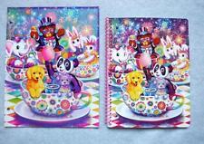 LISA FRANK Lot/2 Glitter Wide Rule Spiral Notebook Folder ALL STAR CELEBRATION