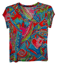 Chico's Travelers, Multi-Color Pull-over V-Neck Cap Sleeve Stretch Top, size 8