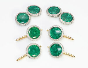 Platinum Guilloche Green Enamel Diamond Cufflinks Stud Set