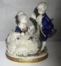 Thüringer Porzellan Figur - Rokoko Dame mit Spitzenkleid & Galan - Unterweißbach