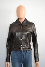 Celine Dark Brown Leather w/ Belt Jacket/Coat, Sz 36/ US 4