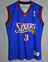 NBA PHILADELPHIA SIXERS 76ERS SHIRT JERSEY CHAMPION ALLEN IVERSON #3 BLUE SIZE M