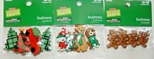 GINGERBREAD, TRUCK & TREES, CHRISTMAS DOGS  BUTTONS YOU GET ALL 3 PACKAGES