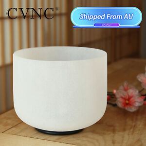 """CVNC 8"""" C Note Crystal Singing Bowl Root Chakra Frosted Quartz for Sound Healing"""
