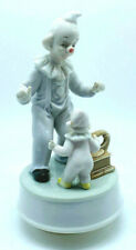 Vintage Summit Collection Porcelain Clowns & Phonograph Music Box - Used