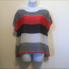 Madison Hi/Low Red, Black and White Sheer Top With Built in Tank Top Women's Med