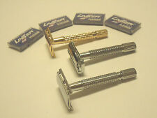 3 PCS OLD FASHION VINTAGE CLASSIC SAFETY RAZORS + 20 RAZOR BLADES GIFT SET