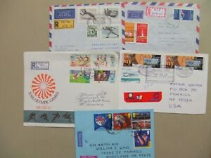 Five registered express covers with OLYMPIC GAMES stamps