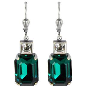 Grevenkämper Ohrringe Swarovski Kristall Silber Rechteck Carrée grün Emerald