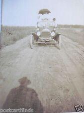 RPPC JALOPY AUTO FULL PEOPLE BIG BLACK UMBRELLA! REAL AZO PHOTO 1910's POSTCARD
