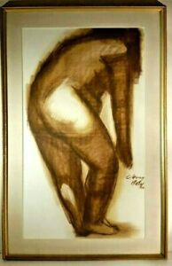 1966 LISTED PANAMANIAN M CHONG NETO Sd NUDE STUDY LARGE ORIG GOUACHE & CHARCOAL