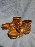 Vintage Brass Boot Shoe Cigarette Holder Ashtray Trinket Box Italy Mid Century