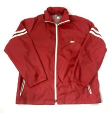 Vintage Asics Tiger Red White Stripped Windbreaker Hooded Full Zip Size Large