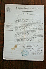 1870 manuscript familly status document official stamp signature
