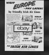 AER LINGUS IRISH AIR LINES SUPER CONSTELLATION TO EUROPE PAY LATE $42 DOWN AD