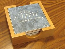 Christian Stone Coaster Set 4 pieces with Cork Back in Wood Holder