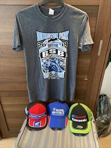 British Superbike T Shirt (med) And 3 Caps, New,