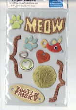 Paper House MEOW (10) 3-D CHIPBOARD Stickers scrapbooking MOUSE TAG YARN PAWS