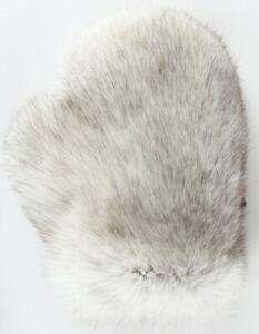 Fur Glove Blue Fox Wellness Massage Streichel Double Sided Fur Natural Grey