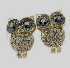 Gold Plated Diamante Owl Earrings with Grey/Black Crystal Eyes
