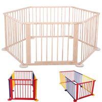 6 Panel Foldable Baby Playpen Wooden Frame Indoor&Outdoor Kid Play Center Yard