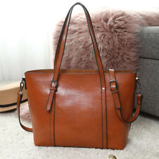 Fashion Women PU Leather Handbag Plain Large Shoulder Tote Bag