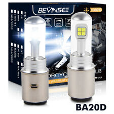 2x BA20D H6 LED Headlight Bulbs Motorcycle ATV UTV Scooter White 1500LM 80W