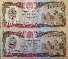 AFGHANISTAN 1991 1000 AFGHANIS TALIBAN P-61 LOT of (2) UNC NOTES FROM USA SELLER