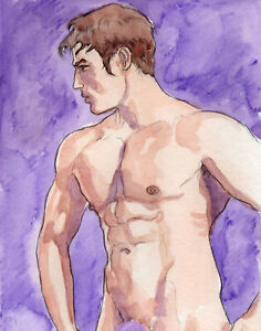 ORIGINAL LARGE MALE NUDE Watercolor - AUGUST - by GERMANIA