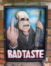 Bad Taste - wood poster > Peter Jackson > aliens > weird > horror > poster art