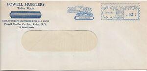 1940 Utica N.Y. Carbon Monoxide machine cancel on cover Powell Mufflers ref 1779