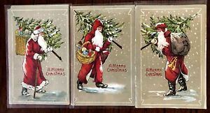 Set of 3 SANTA Claus with Xmas Trees~Antique Christmas Postcards Lot-German-h322