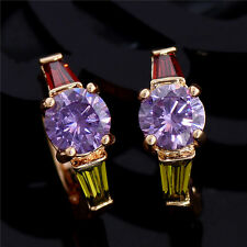 Gold Platinum Plated Cubic Zirconia Round Amethyst Inlaid Ear Clip Earring Stud