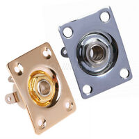 2pcs Square Output Plate w/ Jack for Electric Guitar-Gold+Chrome