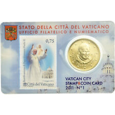 [#781241] VATICAN CITY, 50 Euro Cent, 2011, Stamp and coin card, MS, Brass