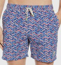 $210 Psycho Bunny Men's Blue Red Drawstring Elastic-Waist Swim Trunks Shorts 2XL