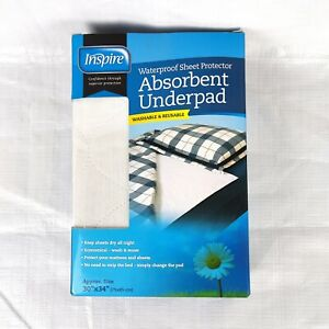 """Inspire Waterproof Sheet Protector Absorbent Underpad, 30"""" x 34""""  Fast Free Ship"""