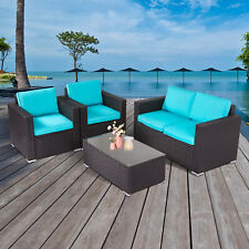 4 PCs Rattan Patio Outdoor Furniture Set Garden Lawn Sofa Sectional Set Blue