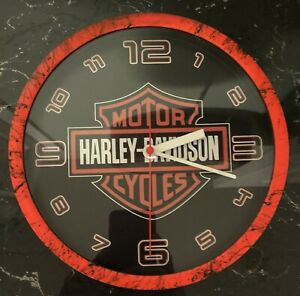 "Harley-Davidson Shield Bright Orange Design 9"" Wall Clock"