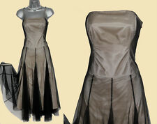 MONSOON Black Cream Soft Tulle Straps Strapless Prom Midi Dress UK 12  EU 40
