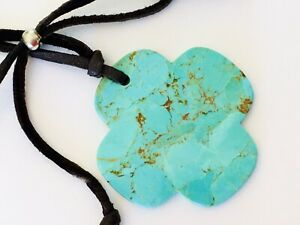 """Sterling Silver ~ 2"""" Turquoise Pendant ~ Adjustable 31"""" ~ Suede Corded Necklace"""