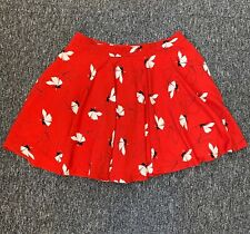 EUC Ladies Gok Wan TU Red Floral Full Flare Circle Skirt Size 16S Lined Vibrant