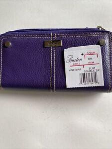 NWT Buxton Slim Double Zip Around Purple Leather Clutch Wallet. G19-4